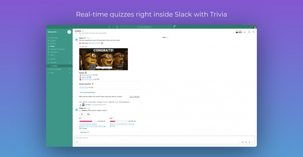 Real-time quizzes right inside Slack with Trivia