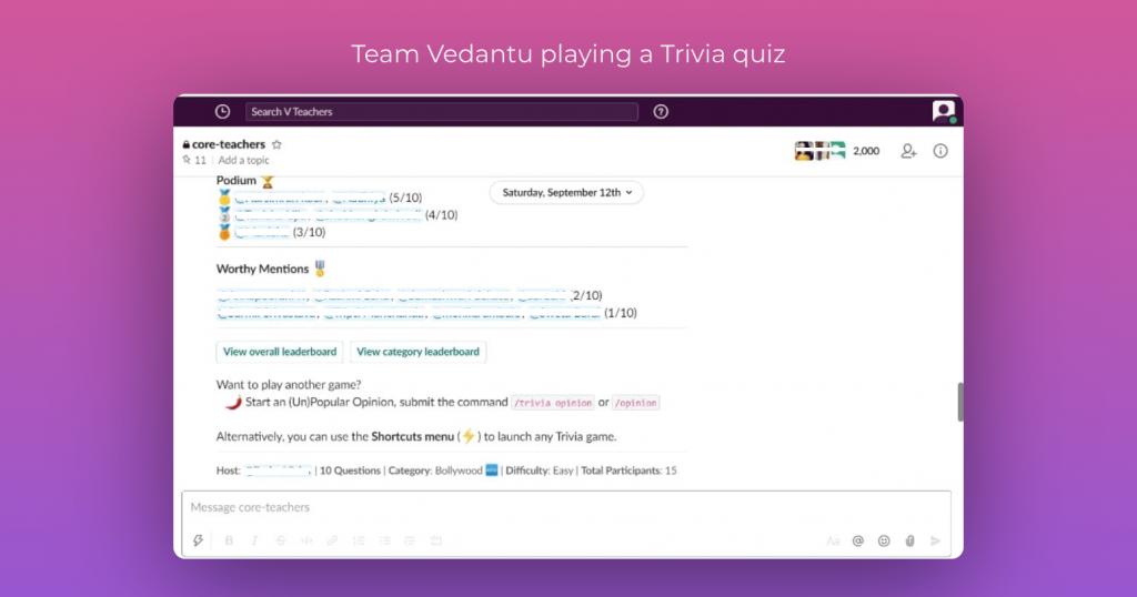 Team Vedantu playing a Trivia quiz