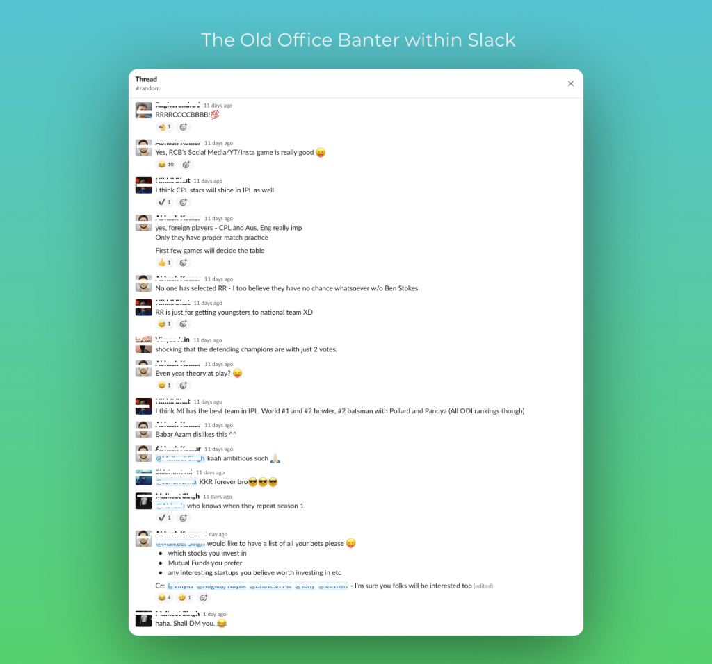 The Old Office Banter within Slack