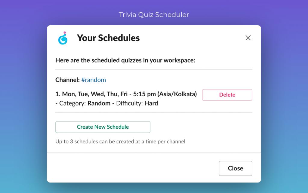 Trivia Quiz Scheduler