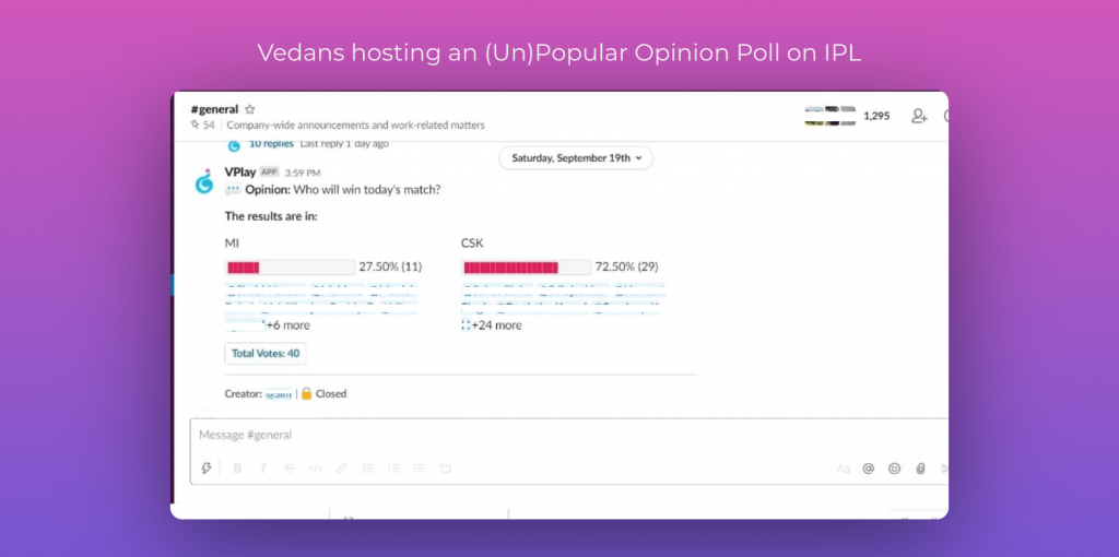 Vedans hosting an (Un)Popular Opinion Poll on IPL