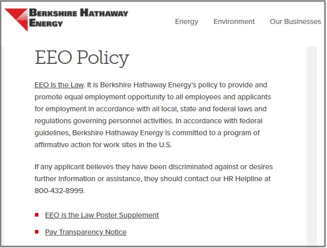 Berkshire Hathaway EEO statement