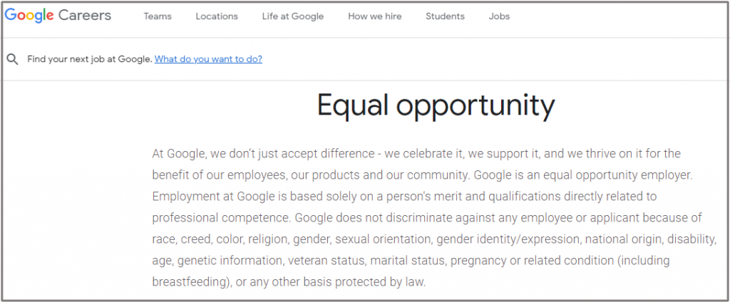 Google EEO statement