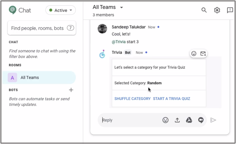 Trivia for Google Chat